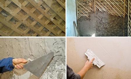 Процесс штукатурки деревянной стены