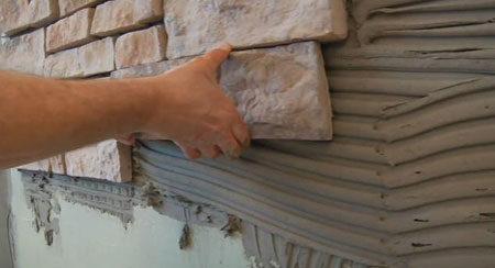 Облицовка стены дома камнем
