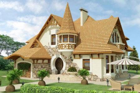 Отделка загородного дома камнем