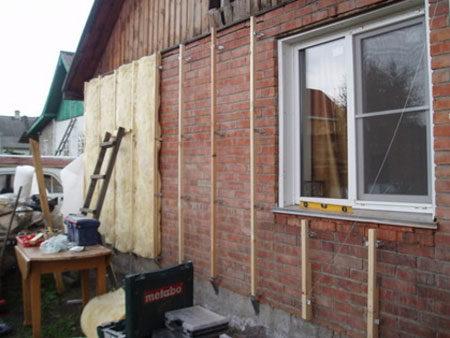 Обрешетка и утепление фасада